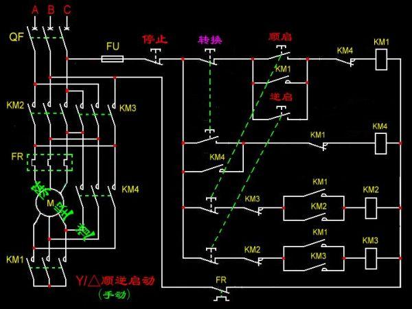 求正反转丫三角手动降压起动电路图图片