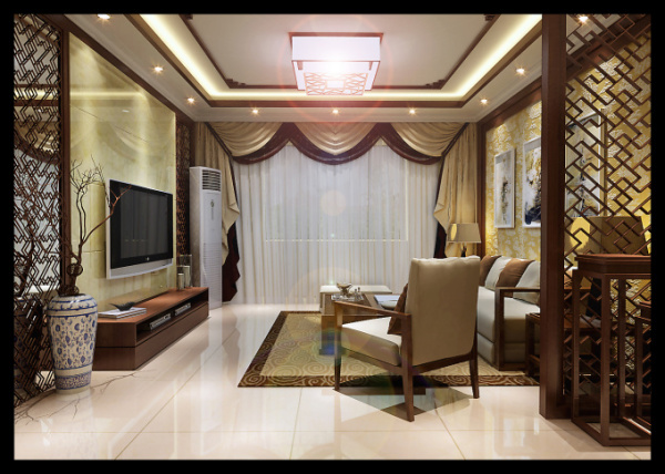 现代中式卧室效果�_现代中式装修配客厅什么窗帘效果图_百度知道