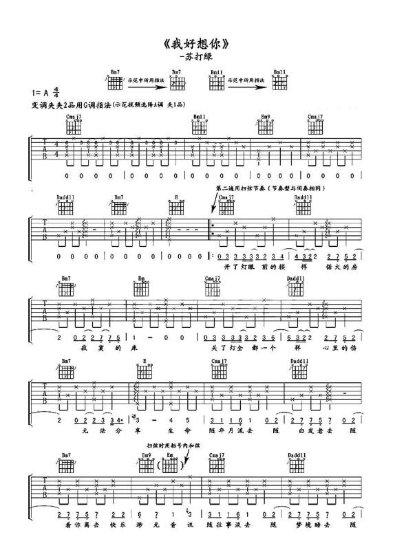吉他曲谱歌曲_吉他入门曲谱