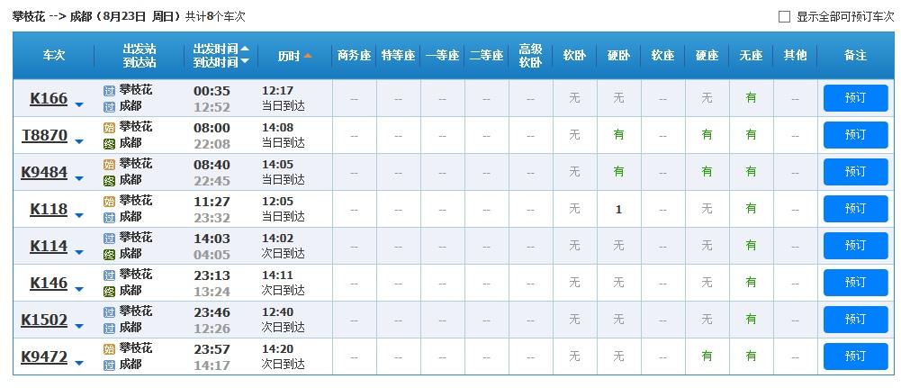 上海到成都的火车时刻表_攀枝花到成都火车时刻表