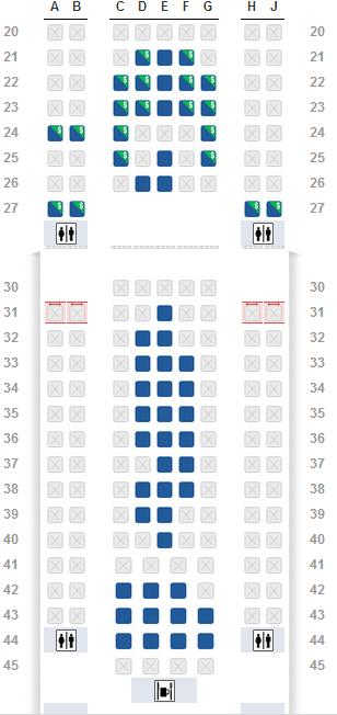 色播777_美航波音777航班做哪个位置比较好?图中蓝色区域可选!
