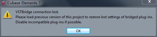 Cubase加载新音色出现VST Bridge停止工作_百度知道