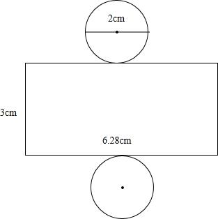 圆柱体的平面图_画一个底面直径是2厘米、高3厘米的圆柱体的表面展开图(要在图 ...