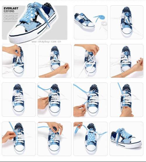 鞋帶的系法,一雙鞋只有兩根鞋帶,怎么系顯得美觀還有個性,跪求圖片