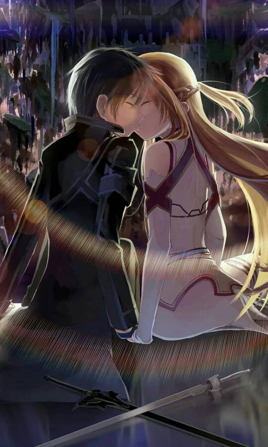 桐人和亚丝娜动态图_求几张好看的刀剑神域的锁屏壁纸啊,要高清的,同人和亚丝娜 ...