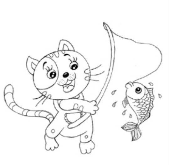 小猫钓鱼的简笔画图片,幼儿简笔画小猫钓鱼的画法,卡通动物简笔画大全,关于小猫钓鱼的情景简笔画素材,儿童学画小猫钓鱼简笔画画法.