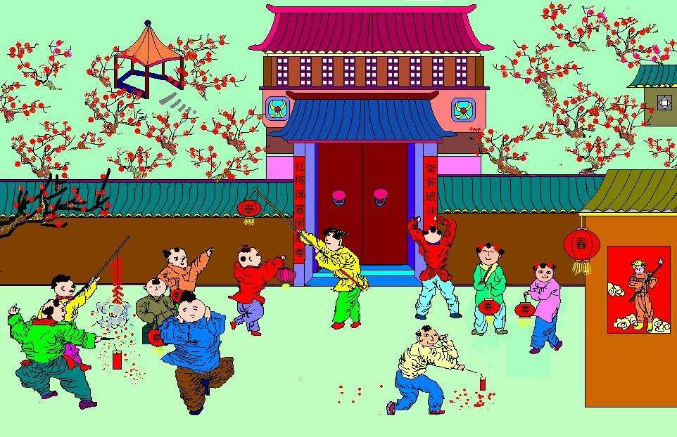春节放鞭炮来源50字