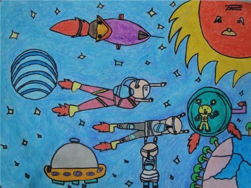 一年级的简单科学幻想画_小学生太空科幻画 图片_百度知道