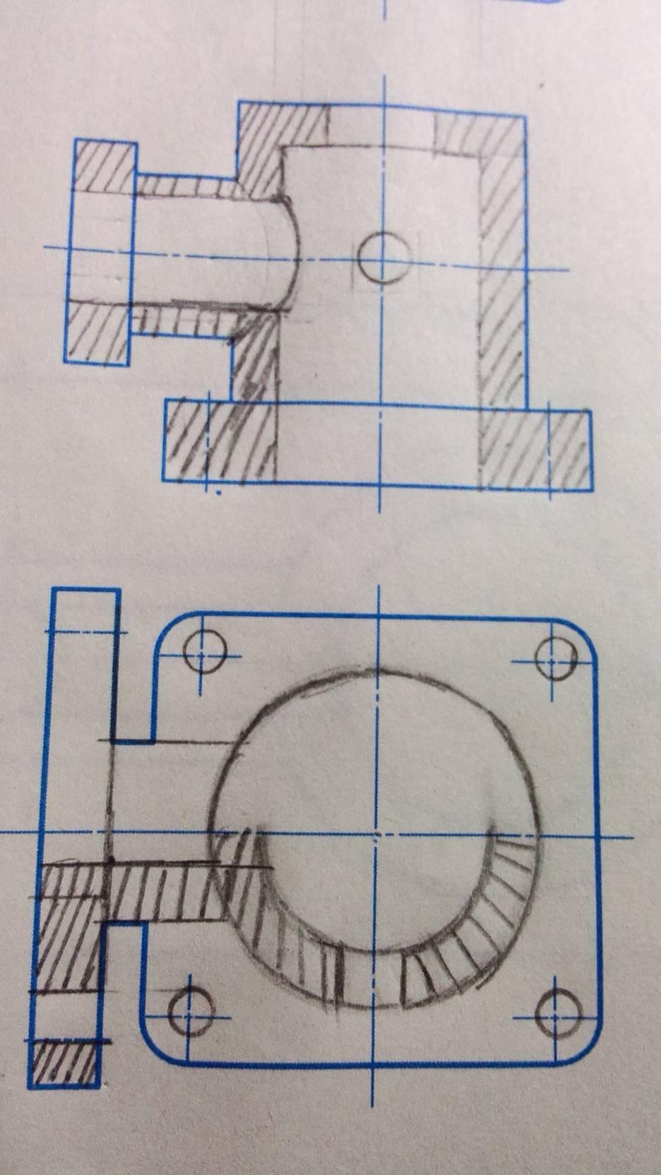 机械制图半剖视图_机械制图,将主视图画成全剖视图,把俯视图和左视图画成半剖 ...