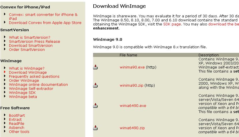 下载完windows7文件之后只出现Download WinImage 这一系列的要