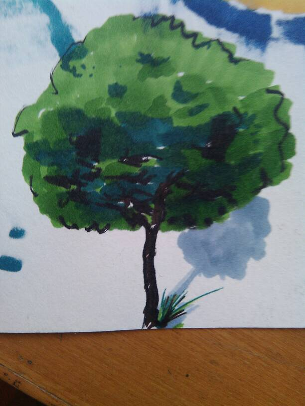 以前没用马克笔画过画,刚学,画了棵树不知道怎么样,