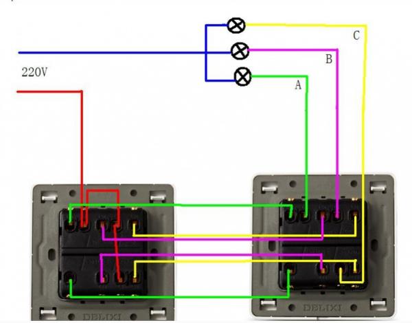 单开3控开关接线图_三开双控开关接线图_百度知道