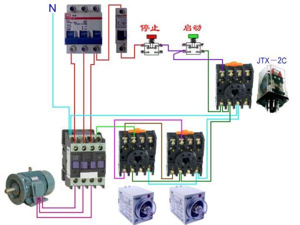 用四个时间继电器控制一电机,停,开,往复循环要求电路图 求电路图