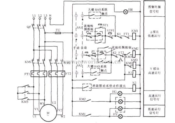 星三角降压启动和双速风机变极调速启动的主电路图是否相同图片