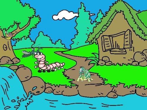 小溪的简笔画怎么好看图片