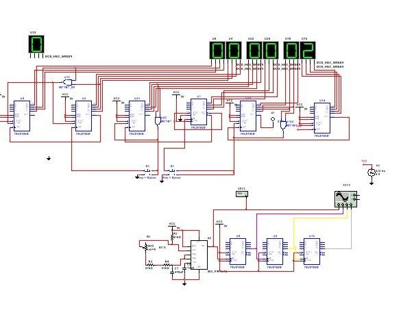 数字时钟电路原理图_求一个纯硬件数字电子时钟的电路图_百度知道