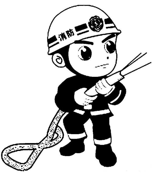 消防员简笔画,消防员救活灭火简笔画图片大全(5)