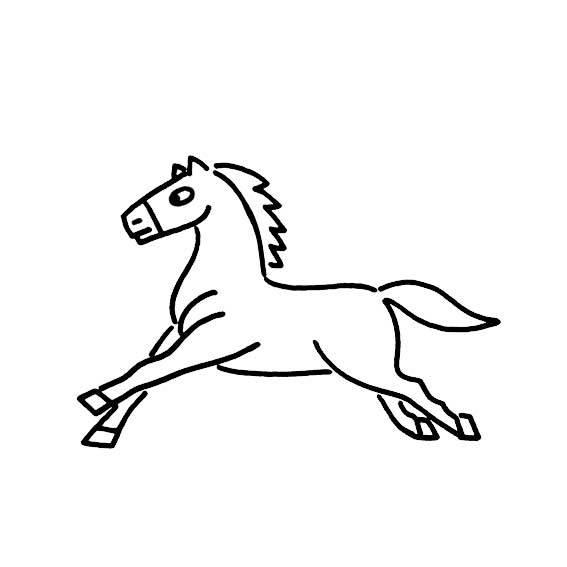 超简单的简笔画奔跑的酷马