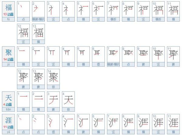 福聚天涯几字的繁体字笔画为多少画