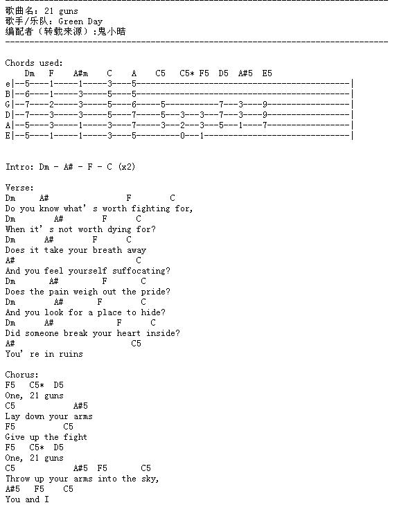 求Green day乐队的《21 Guns》吉他谱。要图片形式的。_百度知道