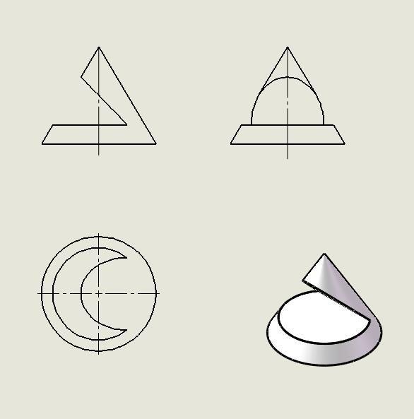 点在圆锥上的三面投影
