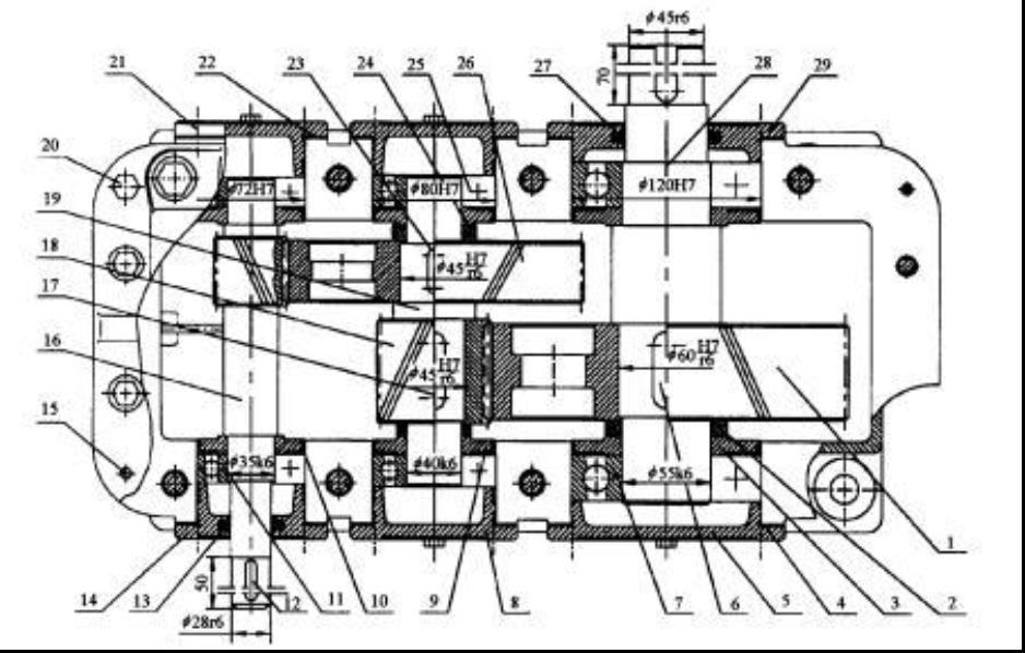 主减速齿轮零件图_谁有二级斜齿轮展开式减速箱装配图_百度知道