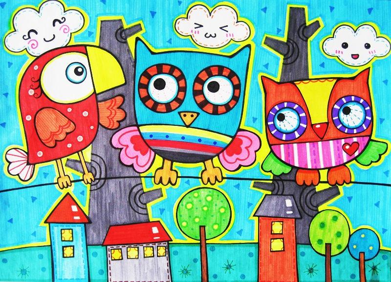 类似色的画_求几幅好看的动物蜡笔画,要求颜色鲜丽,不要太难,类似