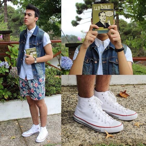牛仔短裤怎么配鞋子_求匡威高帮帆布鞋搭配裤子的图片.男_百度知道