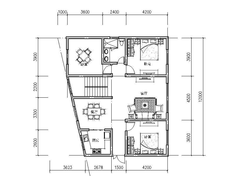 自建60平方房子平面圖