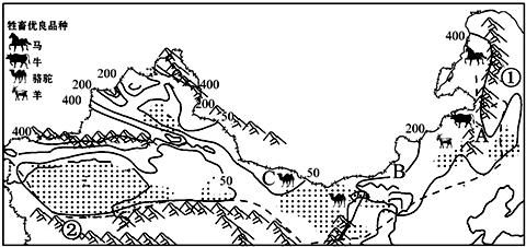 读 西北地区略图 ,分析回答8 9题.8.下列描述与图示内容不相关的是 9.A B C景观变化与下