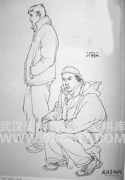 速寫圖片:一站一座兩男青年圖片