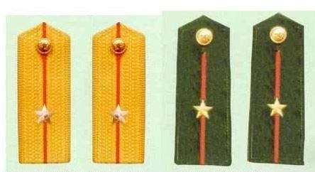 少尉88式军衔肩章,左边是武警少尉硬肩章,右边是武警少尉软肩章   图片