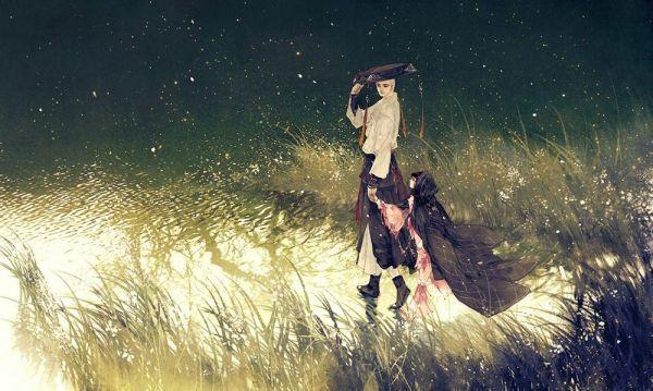 一个女人拿一把伞_求一张:动漫古风一男子背一小女孩在雨中(或者是雪中)行走 ...