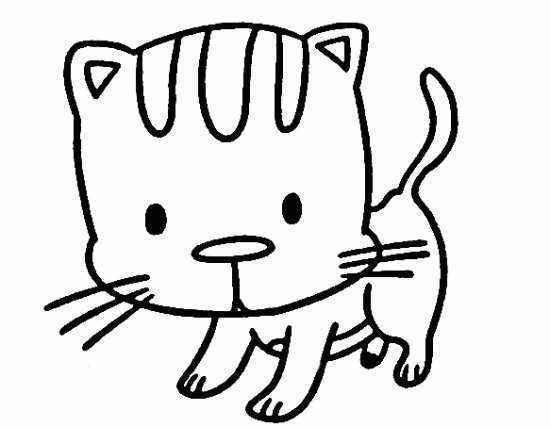 如何画简笔画小猫,好奇的小猫简笔画画法 4
