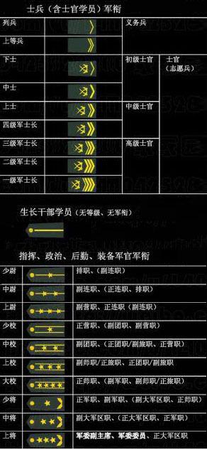 部队的肩章级别中国人民解放军现行军衔制,军官军衔共分3等10级,图片