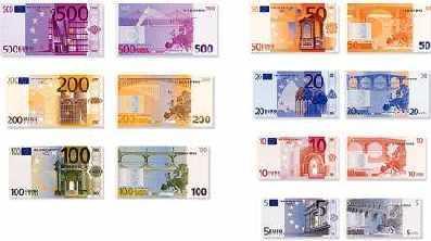 欧元的面值种类图片