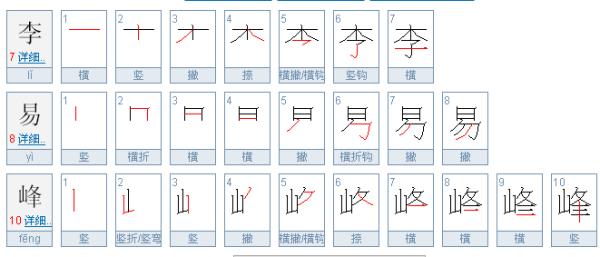 李易峰这几个子的笔画顺序