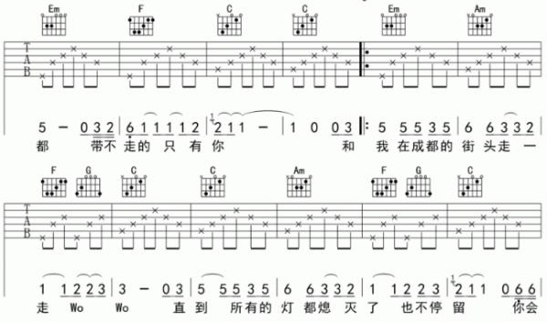 吉他dm和弦_赵雷成都的吉他谱扫弦节奏型_百度知道
