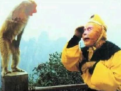 六哲小时候的照片_拍86版《西游记》的时候,六小龄童上了妆,在山上遇到个小猴子,小 ...