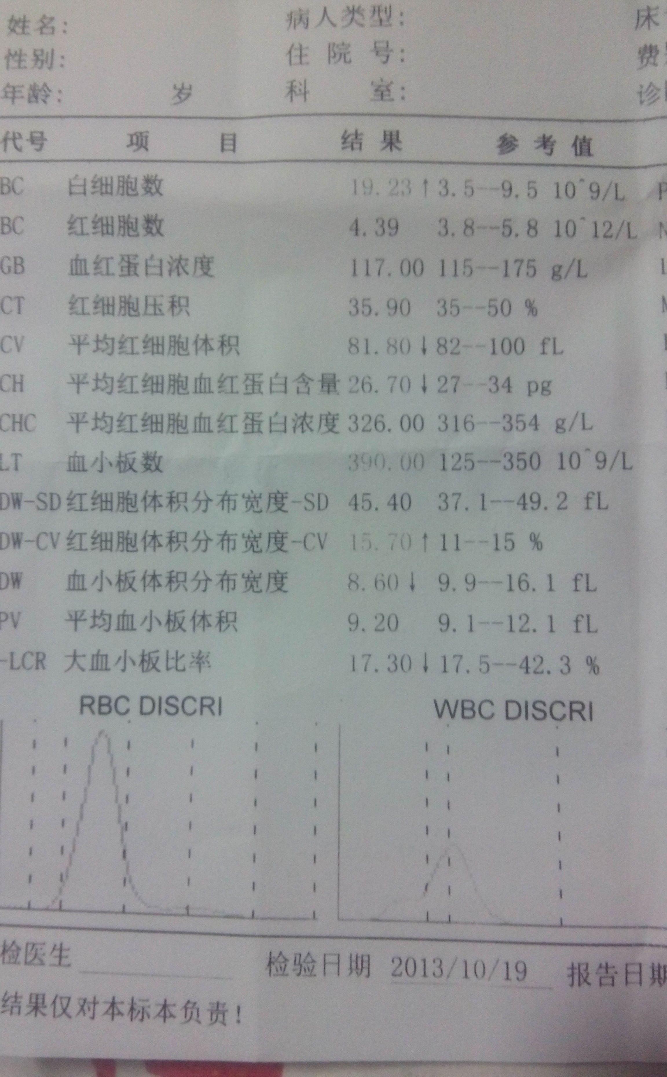 血常规白细胞_帮我看看这个血常规化验单 有什么问提_百度知道