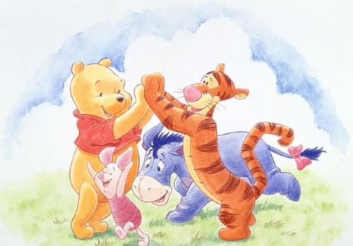 小熊维尼和跳跳虎梗 小熊维尼和跳跳虎 小熊维尼 百人简笔画 儿童简笔画图片