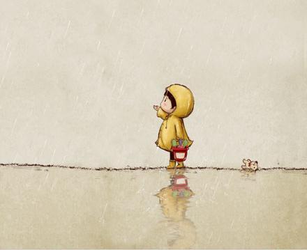 黄色小故事给一个_一张图片,一个小男孩在雨中穿着黄色的雨衣,求原图