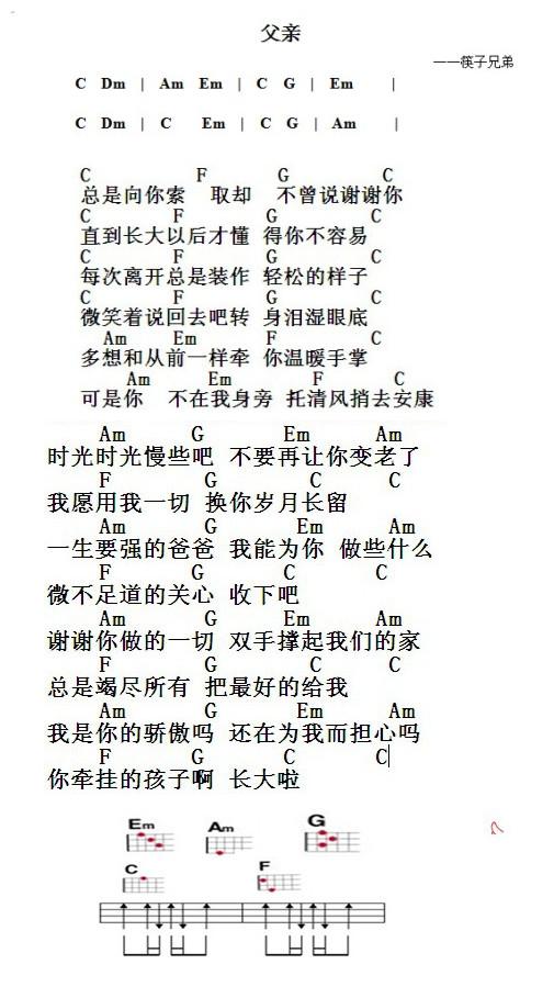 尤克里里新手入门_筷子兄弟 《父亲》 尤克里里的入门谱子