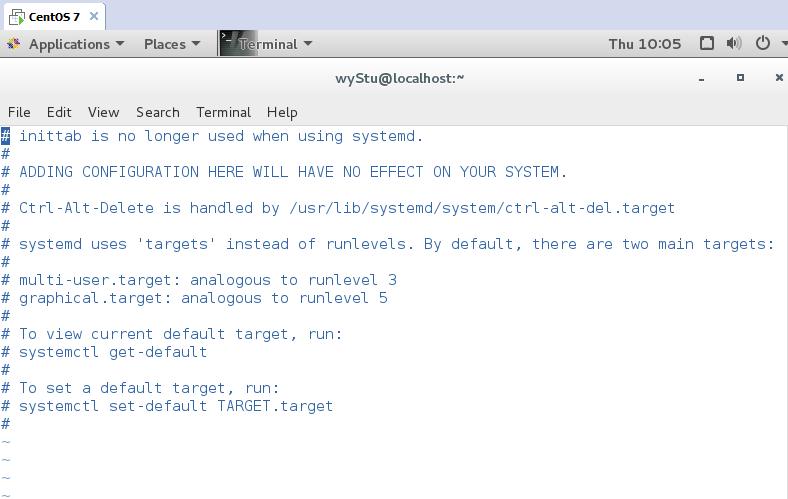 请问CentOS 7怎么更改默认启动为命令行模式?/etc/inittab,说这