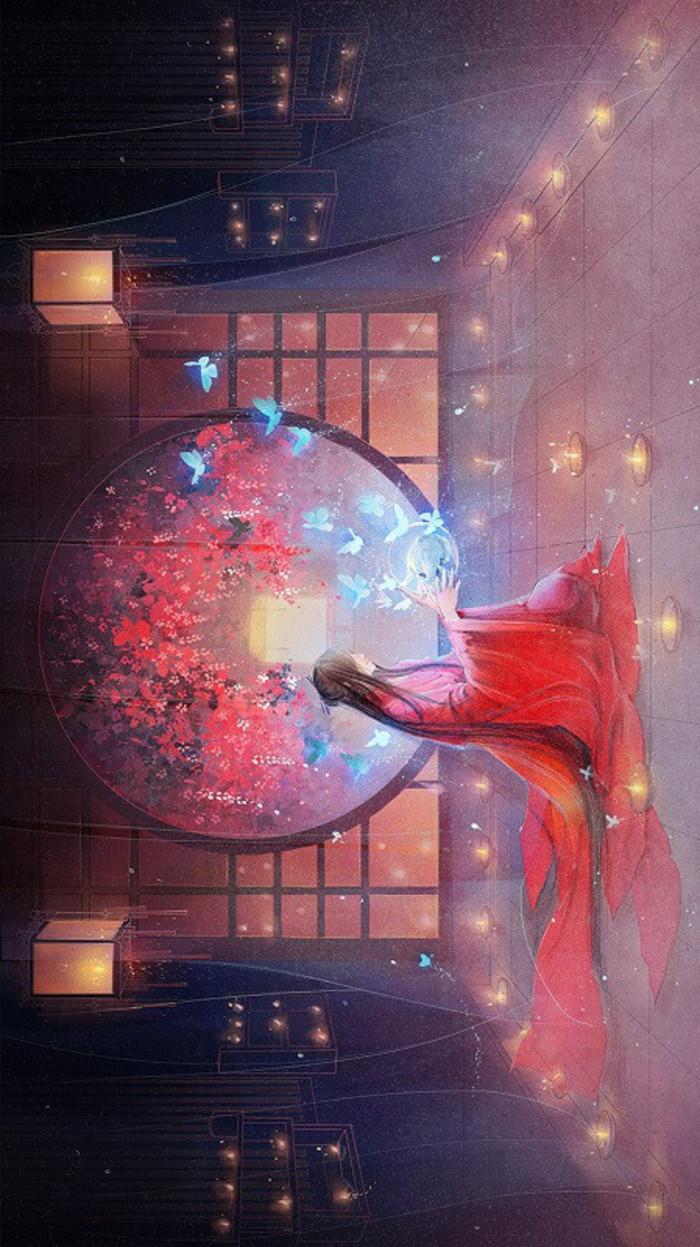 qq空间购买_求一张古风图片当空间背景的 要求是美女穿红色嫁衣的或者红色 ...