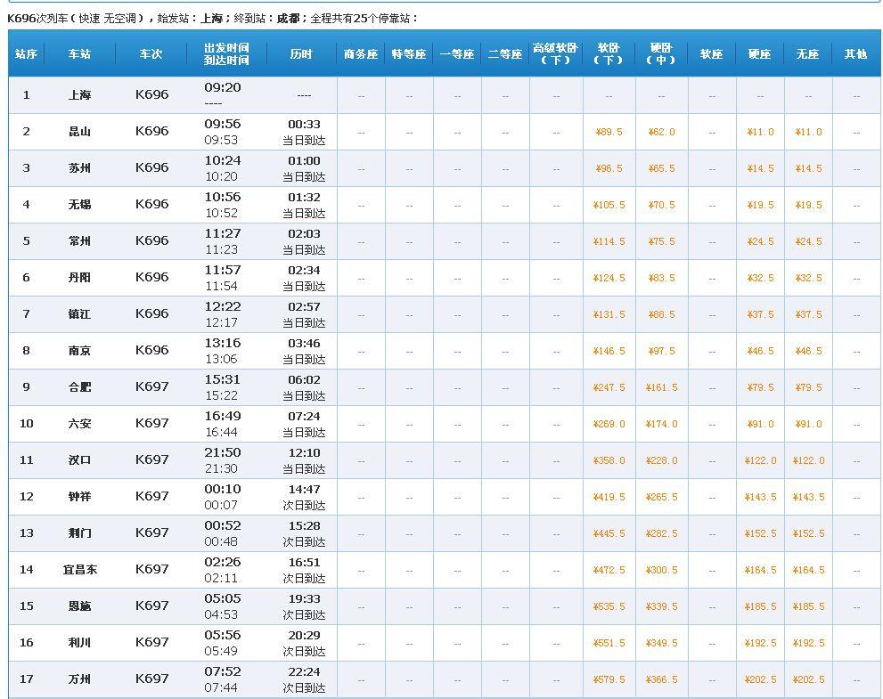 上海到成都的火车时刻表_k697/6列车时刻表 上海~成都