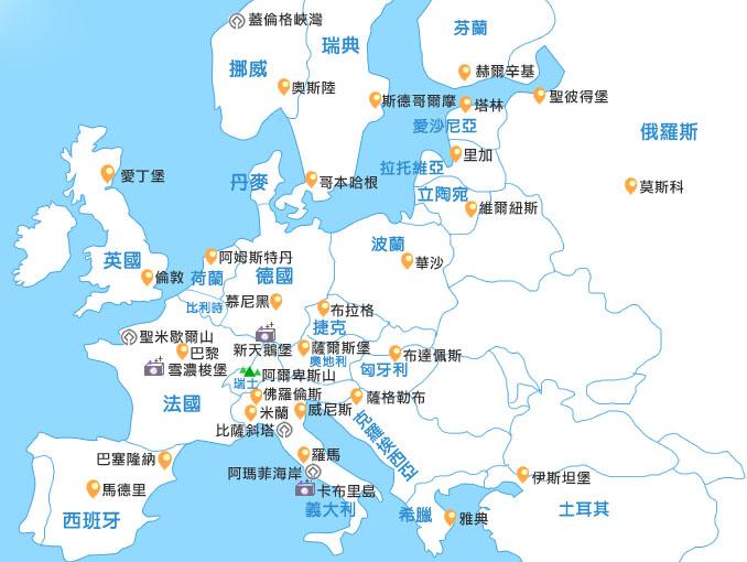?#20998;?#21508;旅游国与著名旅游城市地图