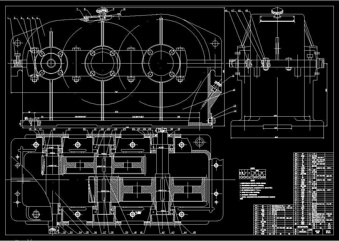 二级减速器箱体cad_二级齿轮减速器CAD图,急!!!_百度知道