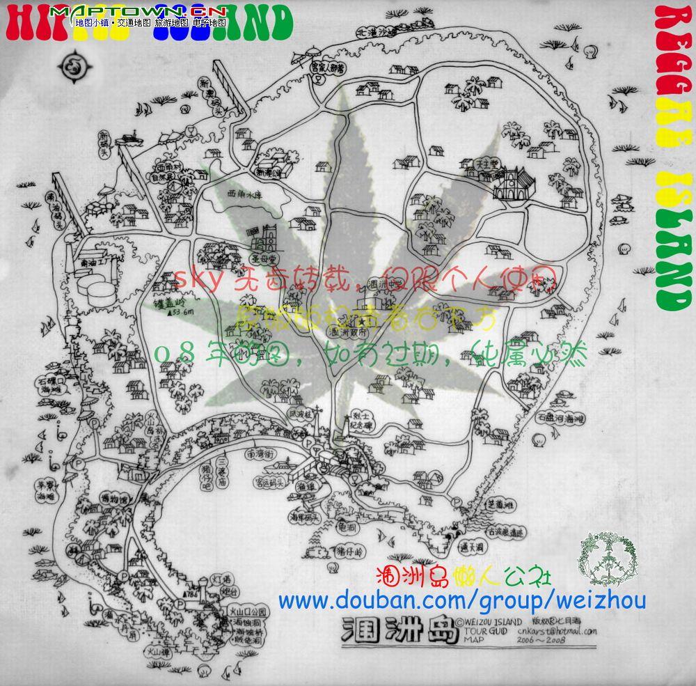 涠洲岛高清手绘地图.