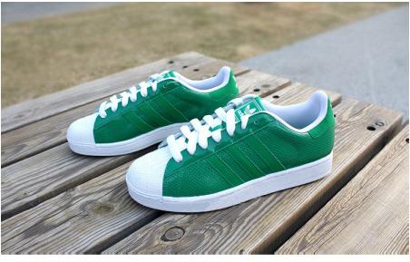 12夏adidas三叶草superstar 2 透气孔 蓝色绿色 复古贝壳头板鞋图片